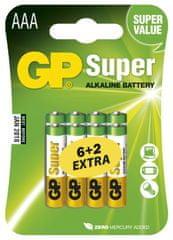 GP Alkalické batérie GP Super (AAA), 8 ks