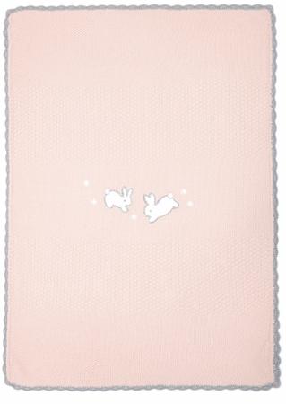 Mamas&Papas dzianinowy kocyk Króliczki, różowy