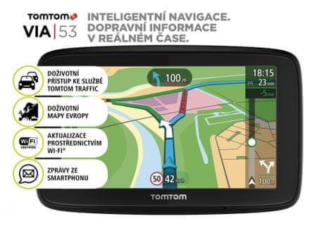 TomTom VIA 53 Europe Lifetime Naviigációs rendszer, 48 ország