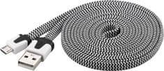 PremiumCord Micro-USB kábel (2.0; 2m), čierna/biela