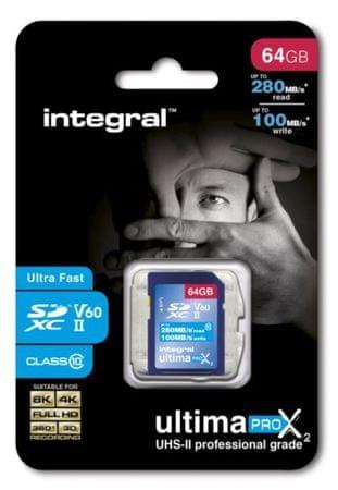 Integral spominska kartica 64GB UltimaPro X2 SDXC 280/100MB UHS-II