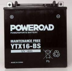 Poweroad akumulator za motor YTX16-BS (brez vzdrževanja, 12V 14Ah)
