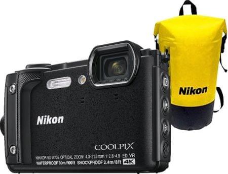 Nikon aparat kompaktowy Coolpix W300 Holiday Kit + plecak, Black