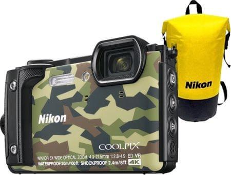 Nikon aparat kompaktowy Coolpix W300 Holiday Kit + plecak, Camouflage