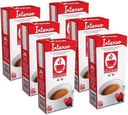 Tiziano Bonini Nespresso kávéfőzőbe alkalmas Intenso kapszula készlet, 10 db, 6 csomag