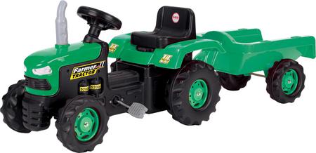DOLU Pedálos traktor utánfutóval, zöld