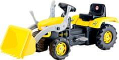 DOLU Velik pedalni traktor z bagerjem - rumen