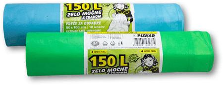 Piskar vrečke za smeti, 150 L / 10 kosov s trakom / 2 kpl