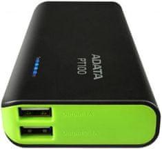 A-Data Power Bank PT100 (10000 mAh), čierna/zelená