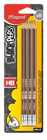 Maped set grafitnih svinčnikov z radirko Black'Peps, HB, 6 kosov