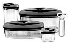 DAFI Set 4 vakuových dóz vrátane pumpičky, antracit