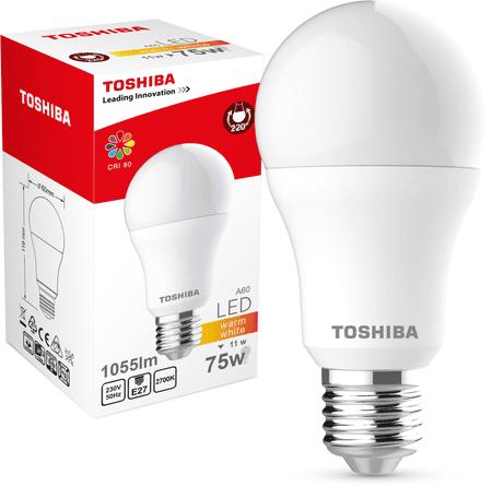 TOSHIBA A60 11W 1055lm 2700K 80Ra ND E27
