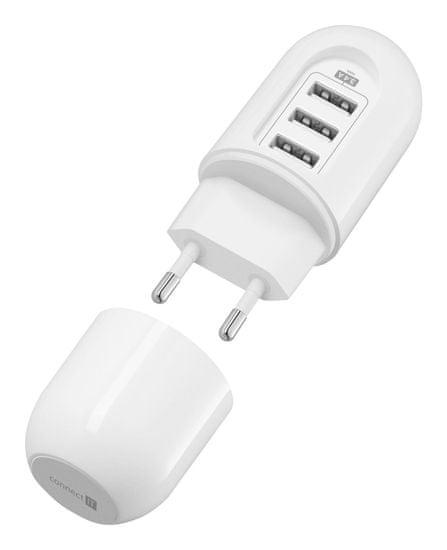 Connect IT Cestovní nabíjecí adaptér 3xUSB (3,4 A Smart IC), bílý