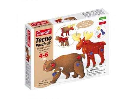 Quercetti Tecno Puzzle 3D medve és jávorszarvas