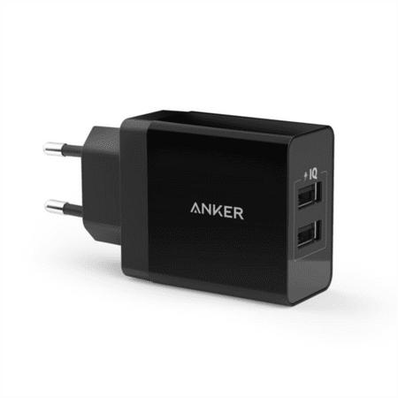 Anker stenski polnilec 24W 2-port USB, črn
