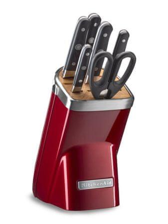 KitchenAid 7-delni set nožev z brusilom in stojalom, rdeč