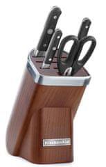 KitchenAid 5-delni set treh nožev, škarij in stojala Natural Dark Ash