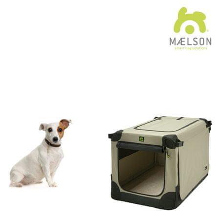 Maelson Soft Kennel szállítódoboz szíjakkal fekete/krémszínű méret 52