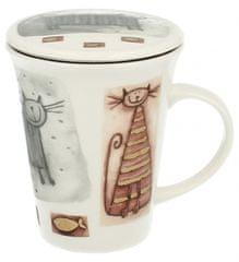 Marex Trade Hrnček na čaj s viečkom CATS 250ml + čajítko
