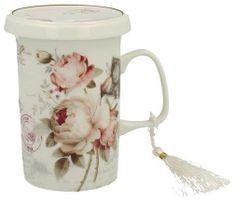Marex Trade Hrnček na čaj s viečkom a čajítkom SECESE 320ml v darčekovom balení