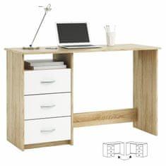 PC stôl, dub sonoma/biela, LARISTOTE