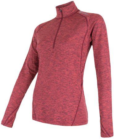 Sensor ženska majica z dolgimi rokavi in zadrgo Motion, roza, L