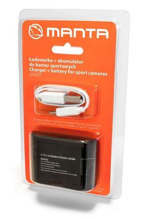 Manta polnilec in dodatna baterija 900 mAh za športne kamere - Odprta embalaža