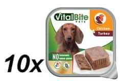 VitalBite Vanička masové kousky v paté s kuřecím a krůtím 10 x 150 g