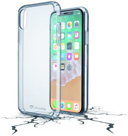 CellularLine prozoren ovitek iz plastike in robom iz gume Clear Duo za iPhone X