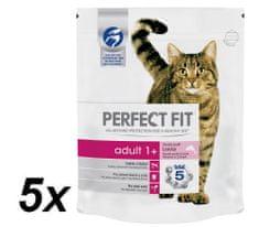 Perfect fit suha hrana za odrasle mačke Adult, z lososom, 5 x 750 g