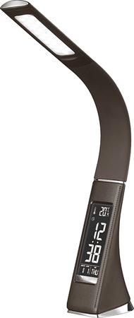 Solight LED asztali lámpa kijelzővel 6W bőr megjelenéssel, barna