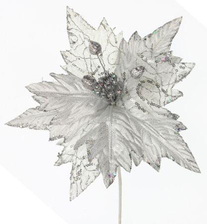 Seizis Kvet dekoračný s trblietaním strieborný, 25cm, 4ks,