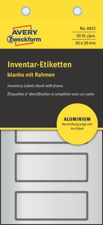 Avery Zweckform etikete za označevanje inventarja, aluminijske, 6922, črna obroba, 50 x 20 mm, 50 etiket/zavitek