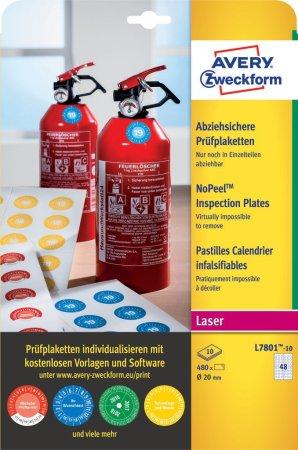 Avery Zweckform kontrolne etikete NoPeel L7801-10, Ø 20 mm, 480 etiket/zavitek