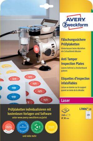 Avery Zweckform kontrolne etikete Anti Tamper L7806-10, Ø 20 mm, 240 etiket/zavitek