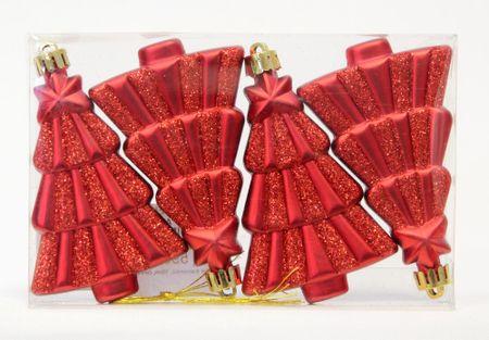 Seizis komplet kuglica u obliku drvca, 10 cm, crvene, 4 kom, 2 pakiranja