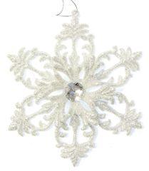 Seizis wiszący płatek śniegu, srebrny, 12,5 cm, 2 szt.