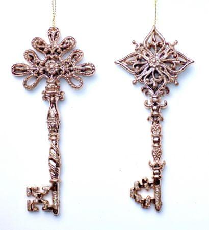 Seizis Kľúč závesný ružový s glitrami, 16cm, 2ks
