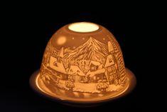 Seizis Svícínek na čajovou svíčku, motiv zimní domky