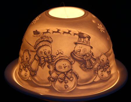 Seizis świąteczny świecznik, motyw bałwanów