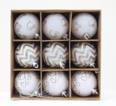 Seizis Set 9 gulí s dekorom, 6cm, biele