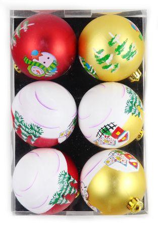 Seizis kuglice s božićnim motivom, 8 cm, 6 komada