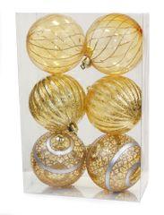 Seizis Set 6 priehľadných gulí s dekorom, 8cm, zlaté