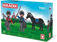 Igráček zestaw TRIO - dwóch rycerzy i czarny koń
