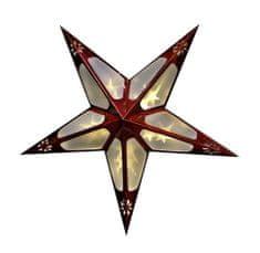 Seizis 60cm papierová hviezda, 10 LED s 3D efektom, červená