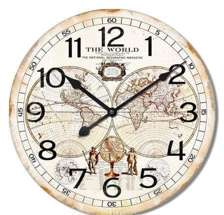 BR stenska ura, retro Svet, premer 60 cm