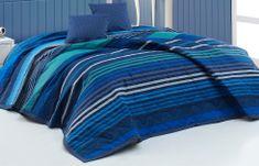 BedTex Prikrývka Marley Modrý 220x240 + 2x40x40 cm