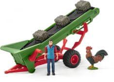 Schleich Zemědělský dopravaník na seno s farmářem
