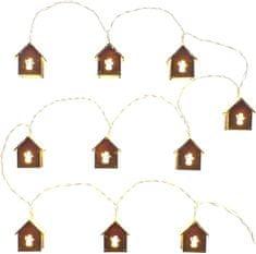 Retlux ozdobny łańcuch domy z bałwankiem 10 LED ciepła biel