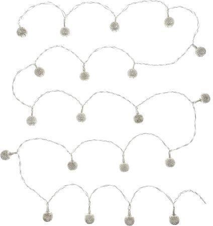 Retlux srebrny łańcuch ozdobny 20 LED ciepła biel